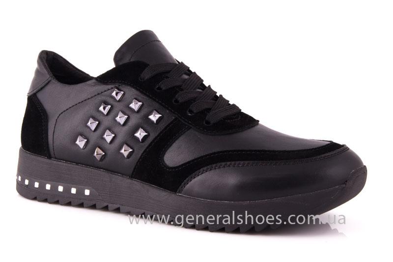 Кроссовки женские кожаные 0140 черный фото 1