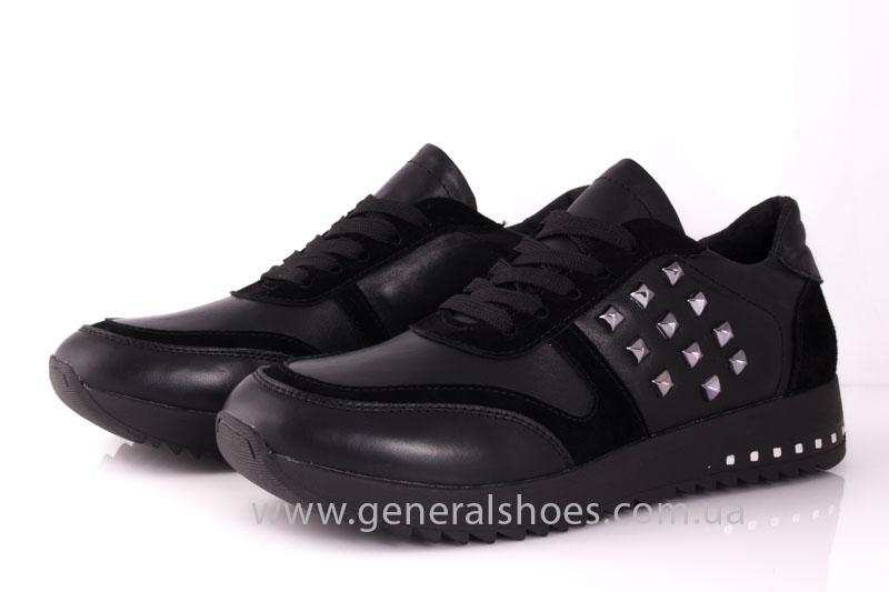 Кроссовки женские кожаные 0140 черный фото 8
