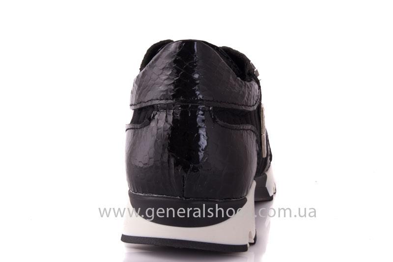 Кроссовки женские кожаные 0335 черный рептилия фото 4