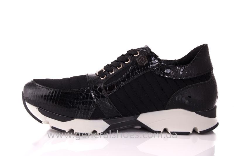Кроссовки женские кожаные 0335 черный рептилия фото 5