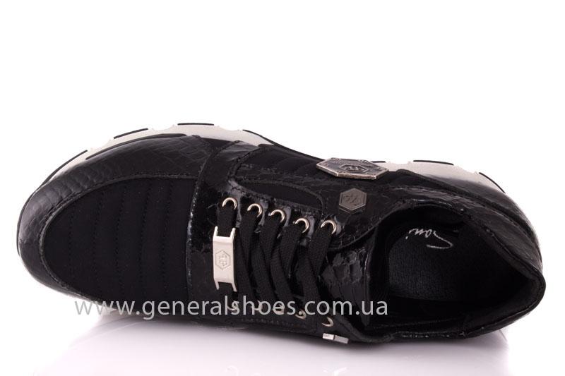 Кроссовки женские кожаные 0335 черный рептилия фото 6