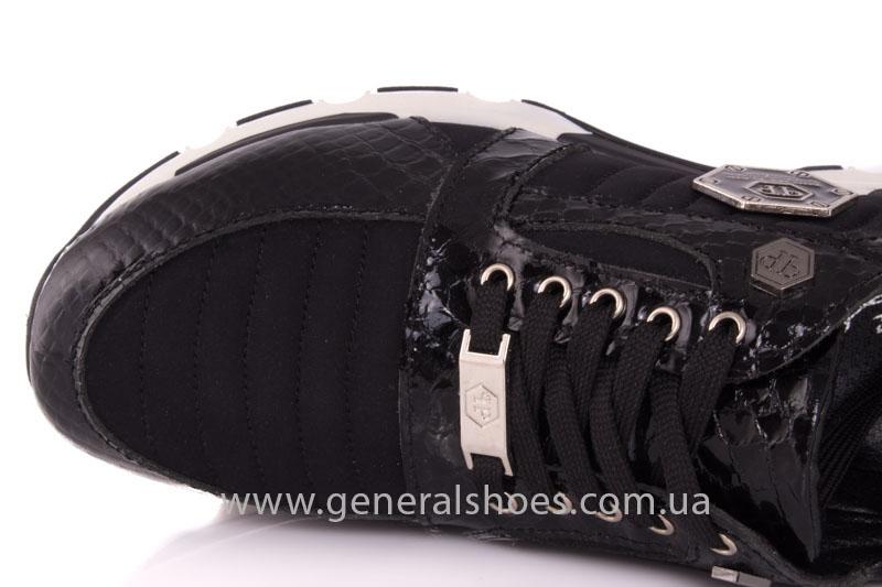 Кроссовки женские кожаные 0335 черный рептилия фото 7