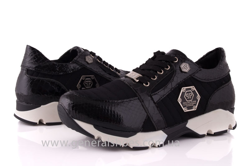 Кроссовки женские кожаные 0335 черный рептилия фото 9