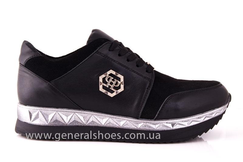 Кроссовки женские кожаные 1601 черный фото 2