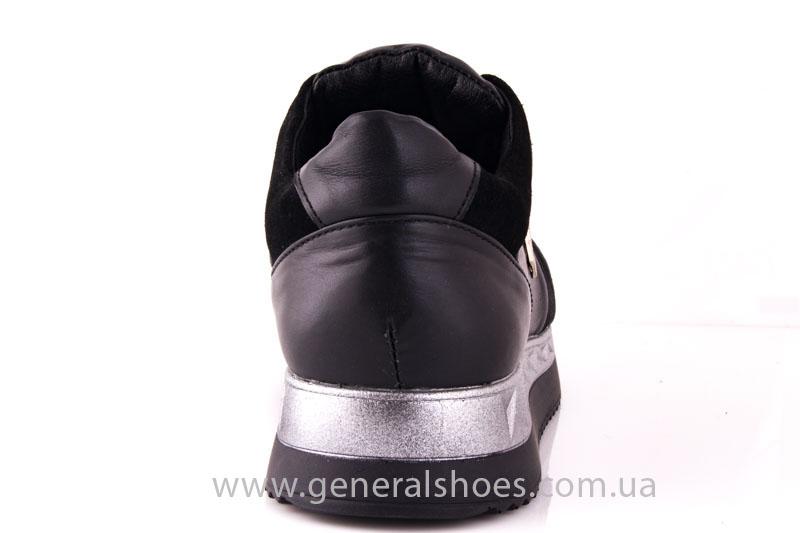 Кроссовки женские кожаные 1601 черный фото 4