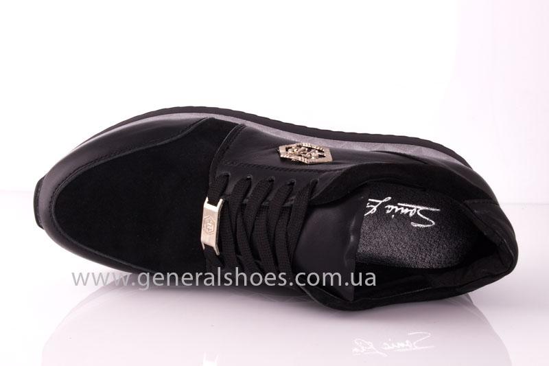 Кроссовки женские кожаные 1601 черный фото 5