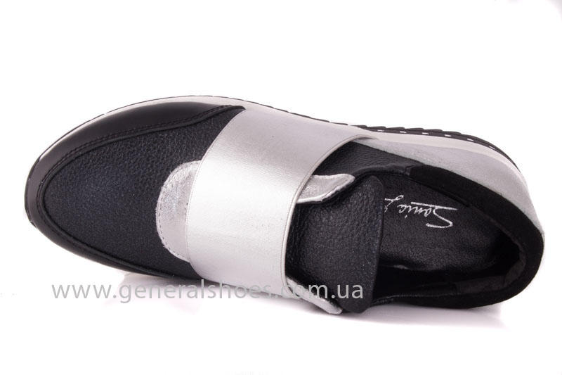Слипоны женские кожаные 1409 серебро фото 6
