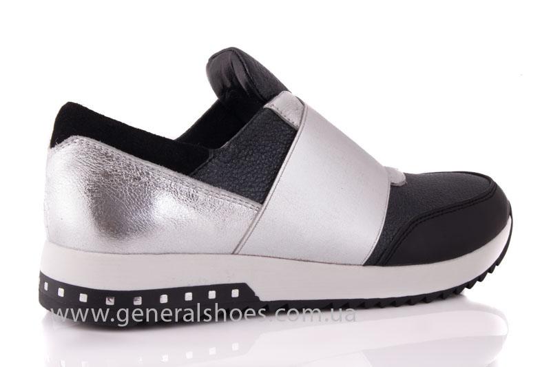Слипоны женские кожаные 1409 серебро фото 3