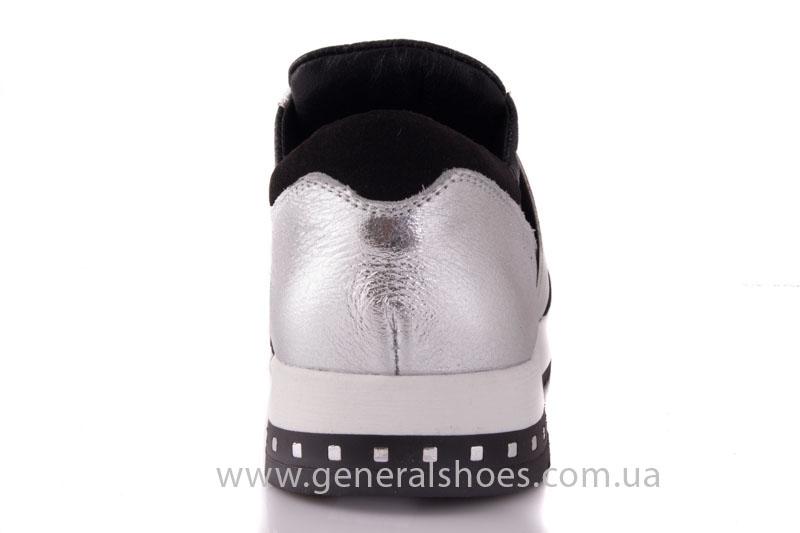 Слипоны женские кожаные 1409 серебро фото 4