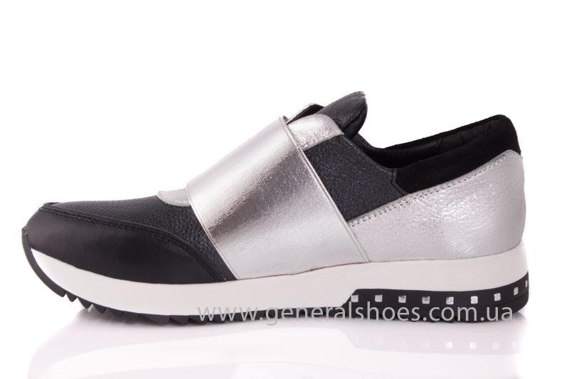 Слипоны женские кожаные 1409 серебро фото 5