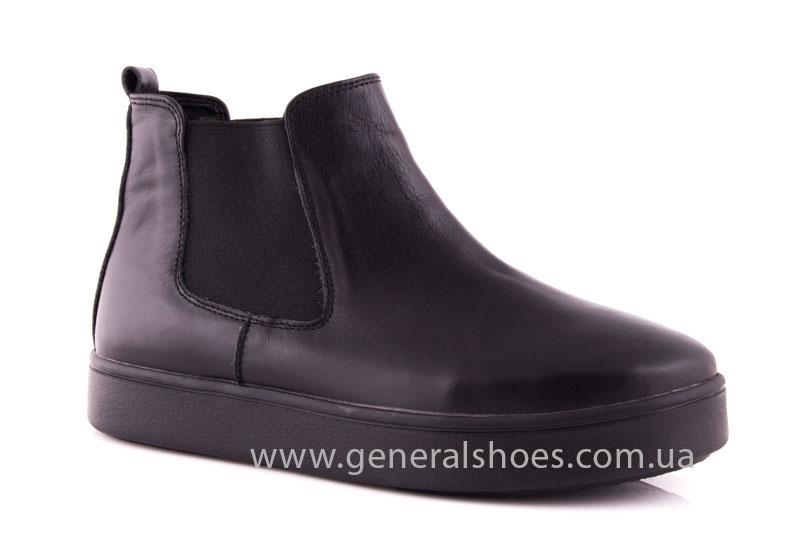 Женские ботинки кожаные 1018 черный фото 1