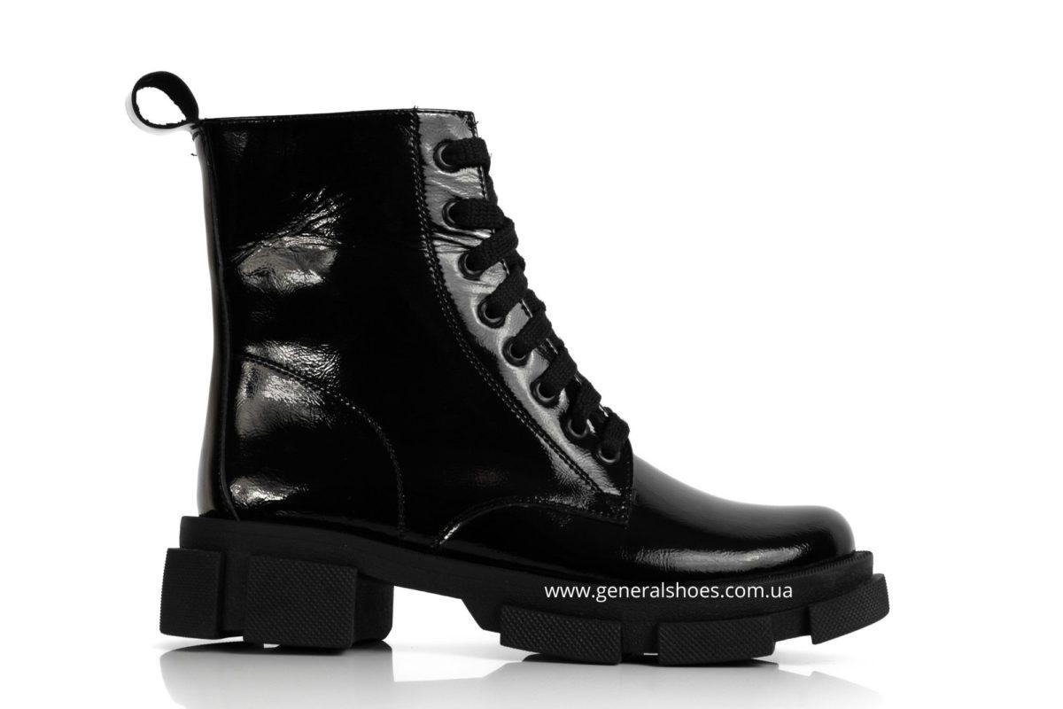 Женские ботинки кожаные лак 2021 черный фото 1