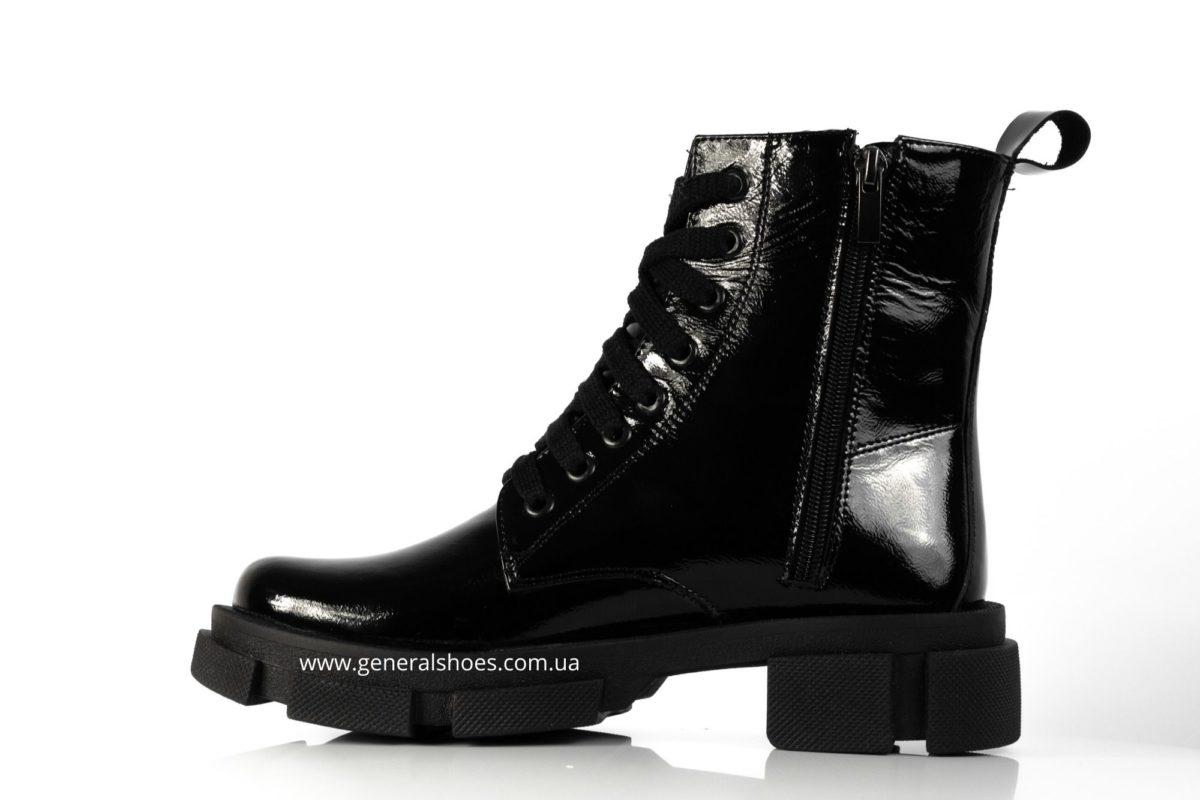 Женские ботинки кожаные лак 2021 черный фото 3