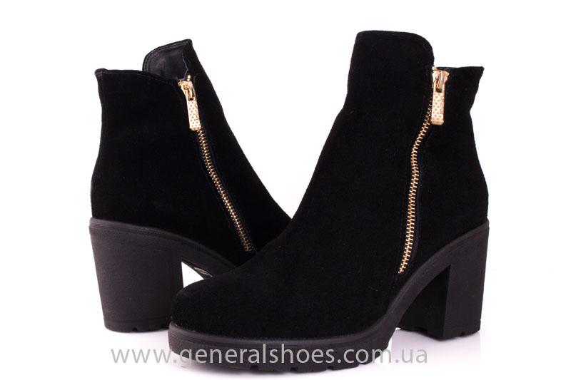 Женские ботинки замшевые 1015 черный фото 7