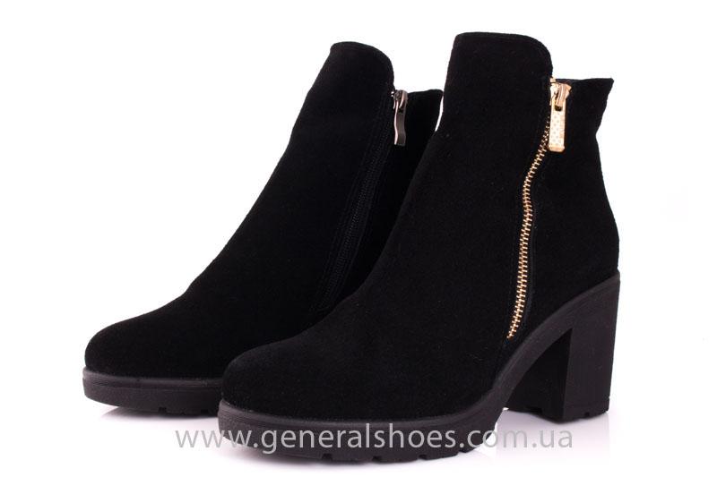 Женские ботинки замшевые 1015 черный фото 6