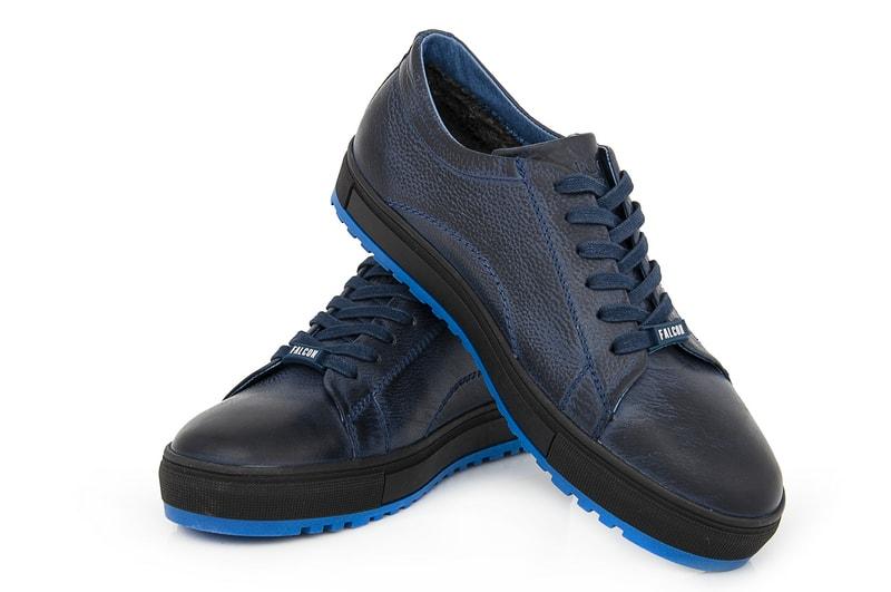 Мужские зимние кожаные полуботинки Falcon B 244 blue
