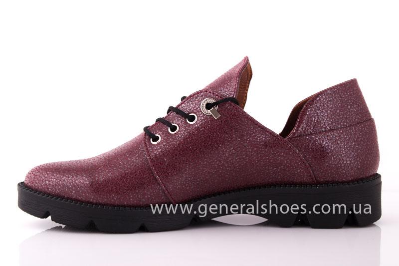 Туфли женские кожаные F 6102 4 бордо блеск фото 4