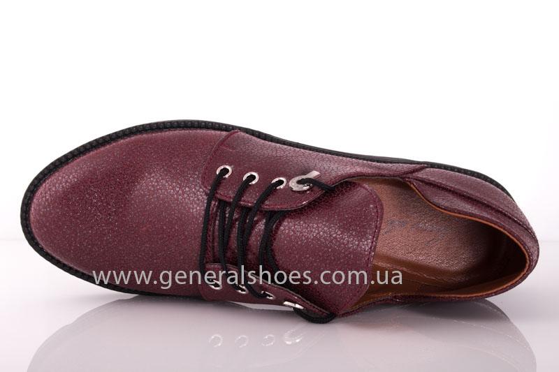 Туфли женские кожаные F 6102 4 бордо блеск фото 5