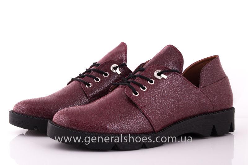 Туфли женские кожаные F 6102 4 бордо блеск фото 8