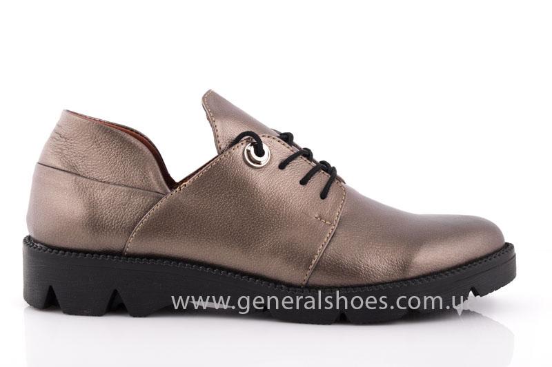 Туфли женские кожаные F 6102 бронза блеск фото 2