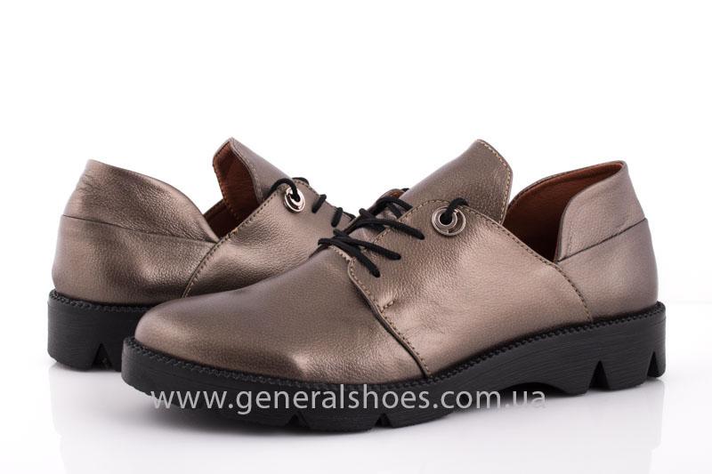 Туфли женские кожаные F 6102 бронза блеск фото 6