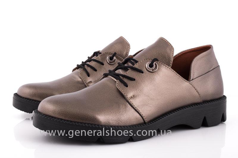 Туфли женские кожаные F 6102 бронза блеск фото 7