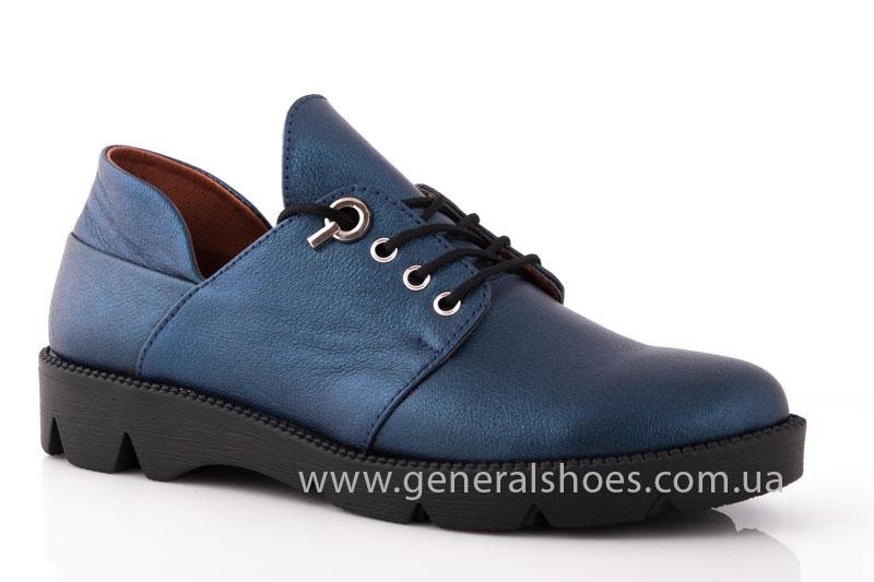 Женские кожаные туфли F 6102 синие блеск фото 1