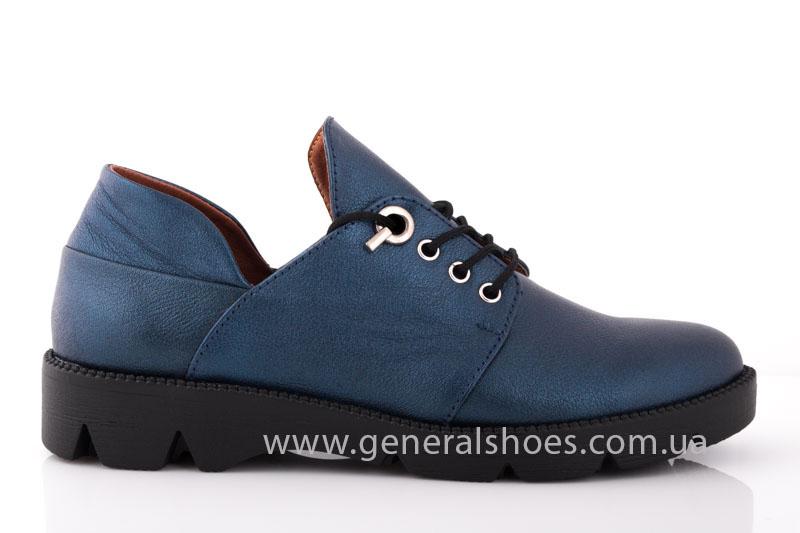 Женские кожаные туфли F 6102 синие блеск фото 2