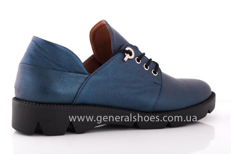 Женские кожаные туфли F 6102 синие блеск фото 3