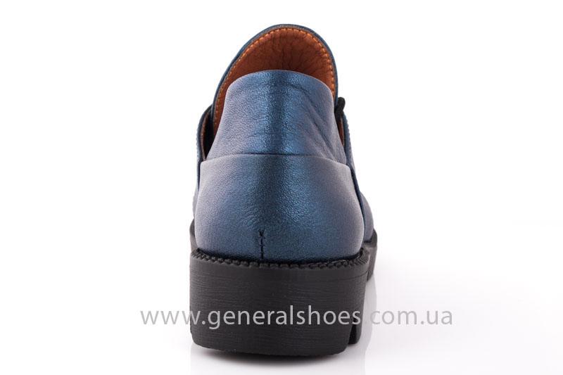 Женские кожаные туфли F 6102 синие блеск фото 4