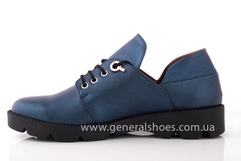 Женские кожаные туфли F 6102 синие блеск фото 5