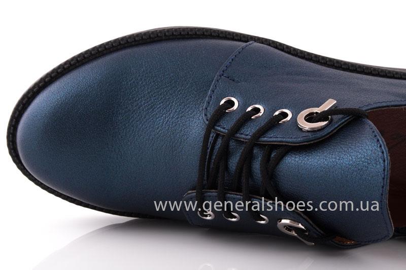 Женские кожаные туфли F 6102 синие блеск фото 6