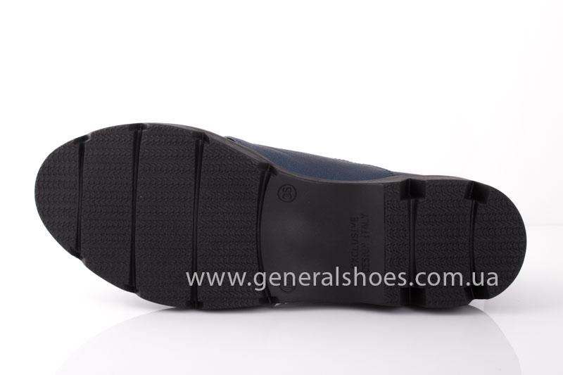 Женские кожаные туфли F 6102 синие блеск фото 7