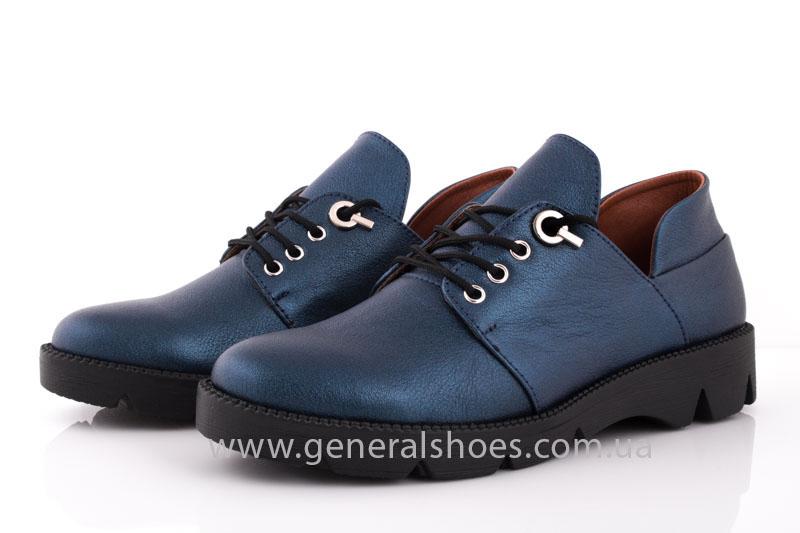 Женские кожаные туфли F 6102 синие блеск фото 8