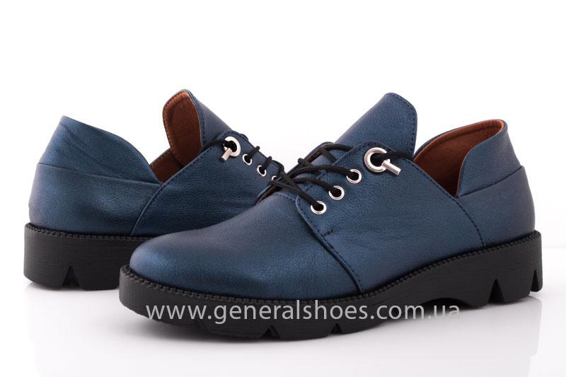 Женские кожаные туфли F 6102 синие блеск фото 9