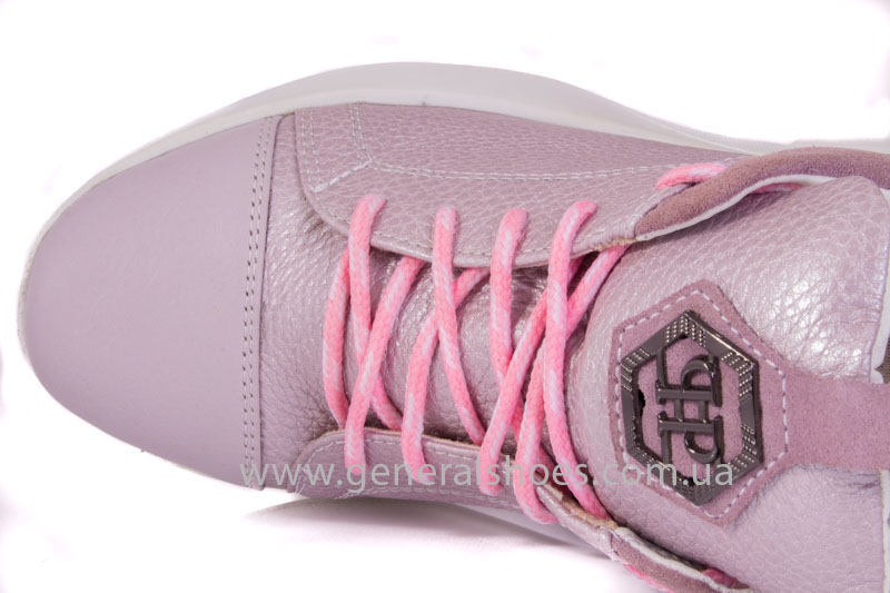 Женские кроссовки кожаные S 12 розовые фото 5