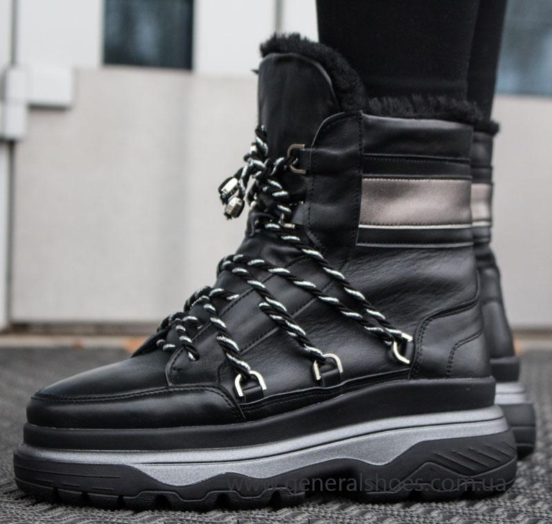 Женские зимние кожаные ботинки GL 323 черные фото 8