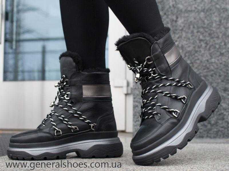 Женские зимние кожаные ботинки GL 323 черные фото 5