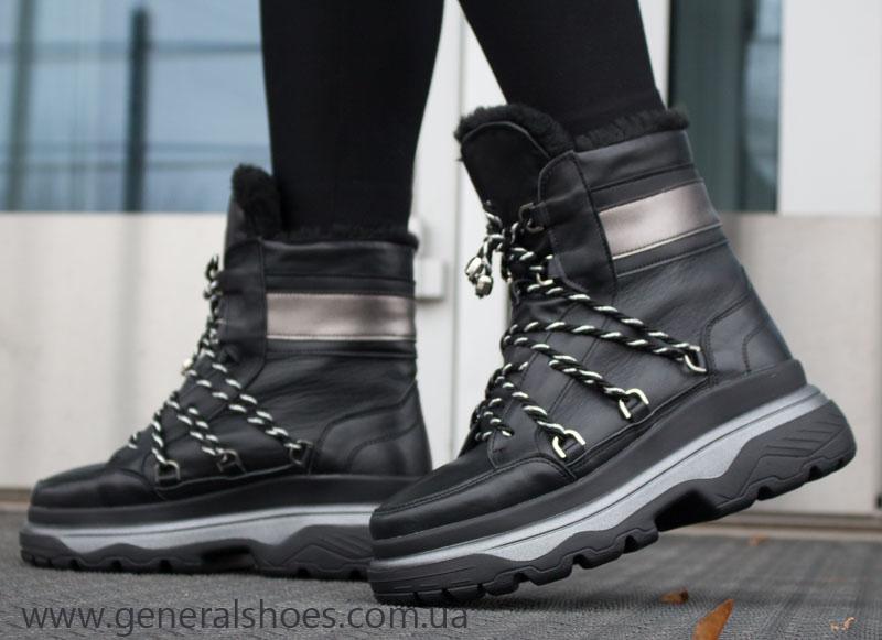 Женские зимние кожаные ботинки GL 323 черные фото 6