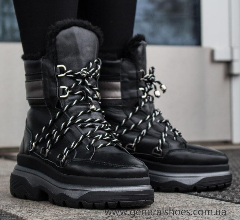 Женские зимние кожаные ботинки GL 323 черные фото 9