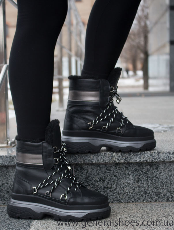 Женские зимние кожаные ботинки GL 323 черные фото 10
