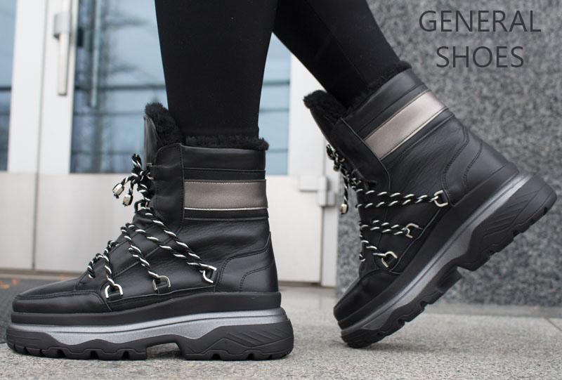 Женские зимние кожаные ботинки GL 323 черные фото 7