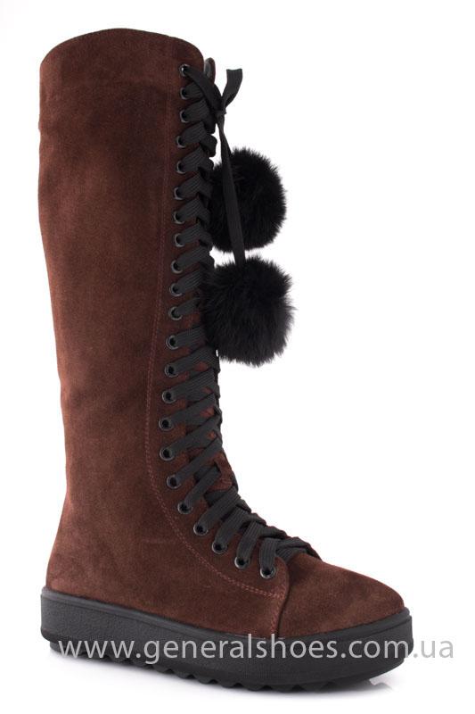 Женские зимние сапоги замшевые К6 коричневые фото 1