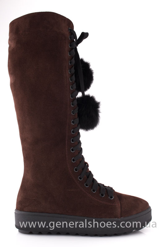 Женские зимние сапоги замшевые К6 коричневые фото 2