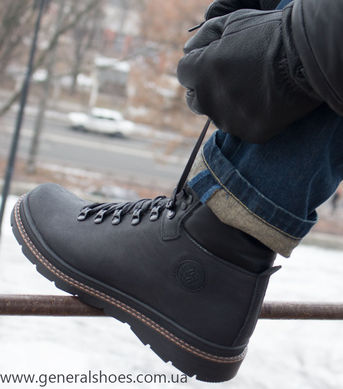Зимние кожаные ботинки GS 2211 черные фото 16