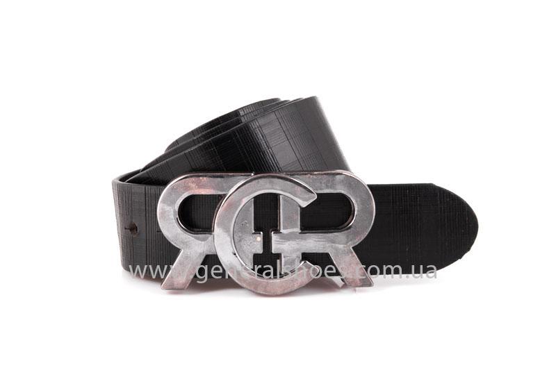 Мужской кожаный ремень RCR черный фото 1