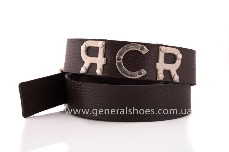 Мужской кожаный ремень RCR коричневый фото 2