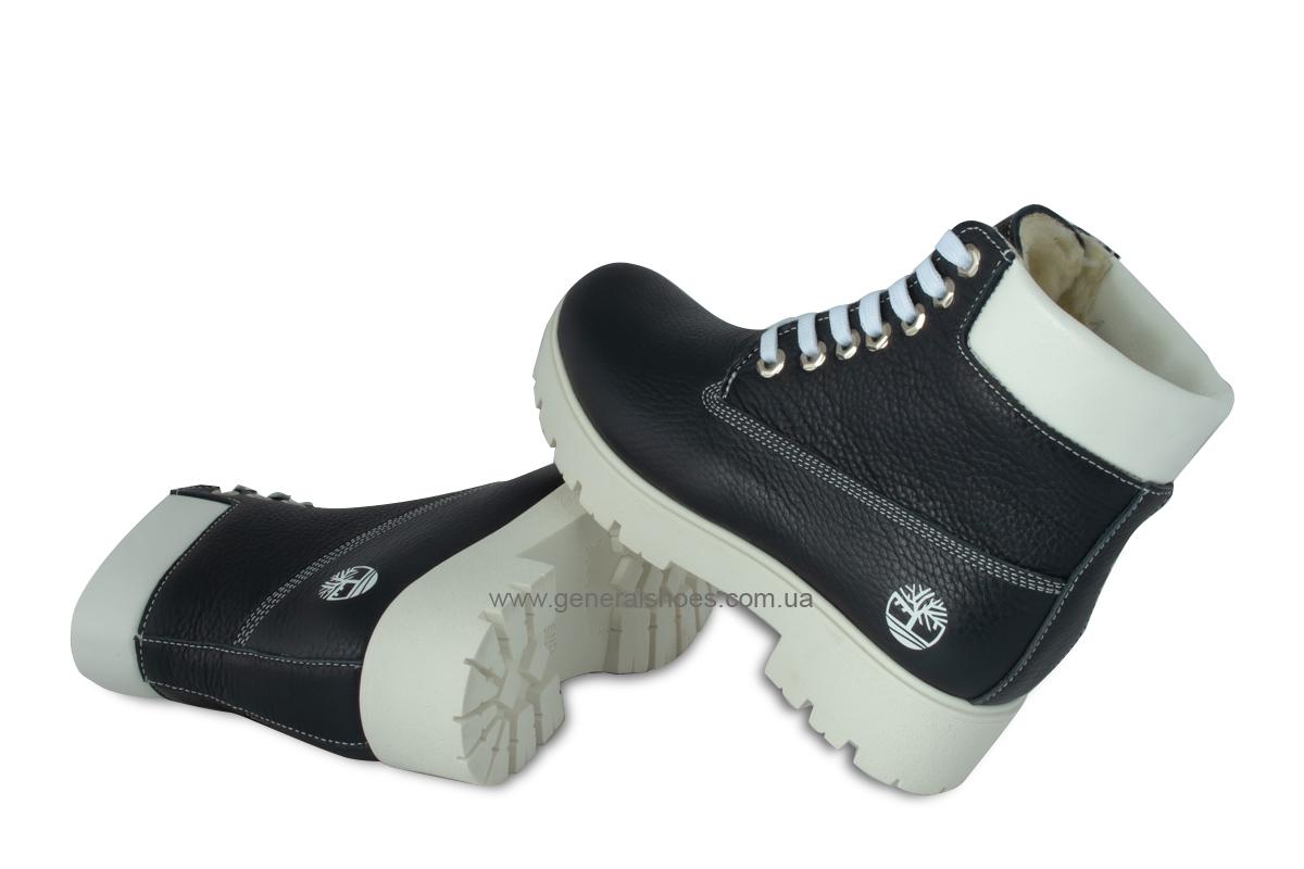 Зимние женские кожаные ботинки 105 синие фото 2