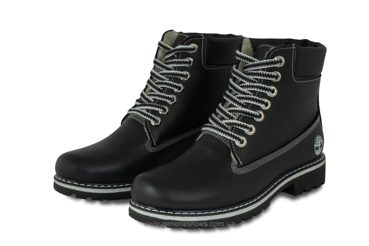 Зимние женские кожаные ботинки 106 черные фото 1