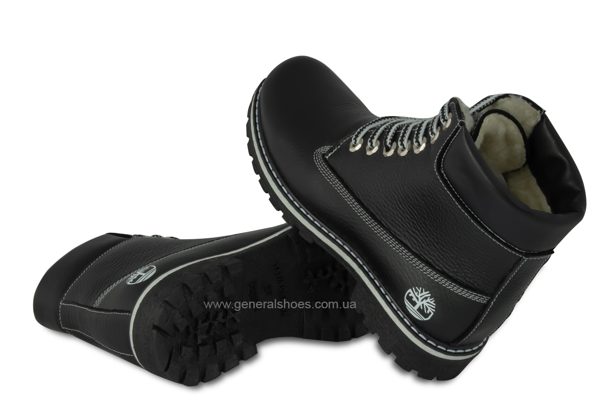 Зимние женские кожаные ботинки 106 черные фото 2